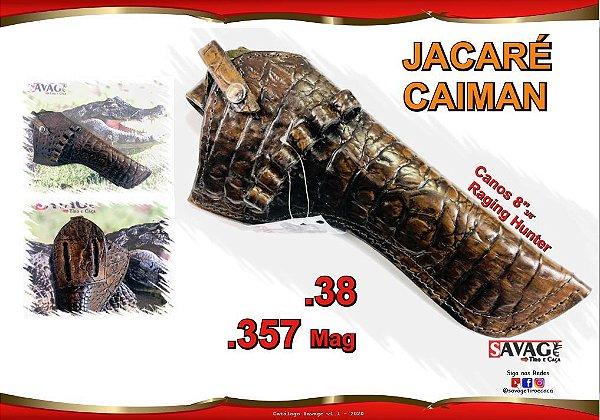 Coldre Couro P Revolver Cano 8 3/8 - .357 Mag - Jacaré Caiman