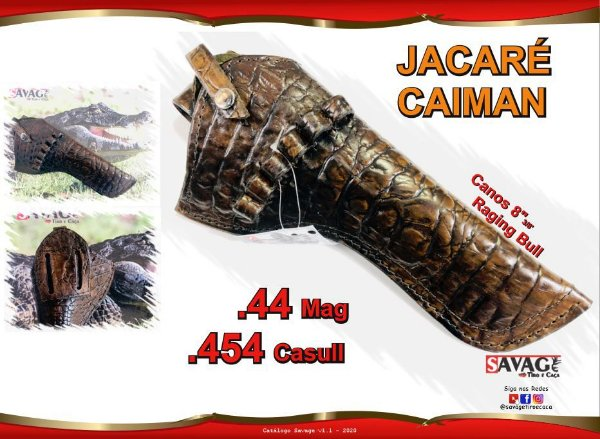 "Coldre Couro P Revólver .44 .454 Casull - Cano 8"" 3/8' - Jacaré Caiman"