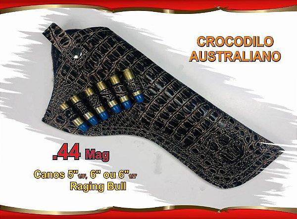 """Coldre Couro P Revólver .44 - Cano 6,5"""" - Crocodilo Australiano"""