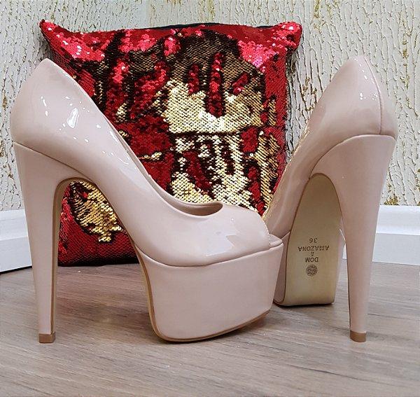 Sapato Feminino Salto Alto Numeração Especial Verniz Nude  CD38