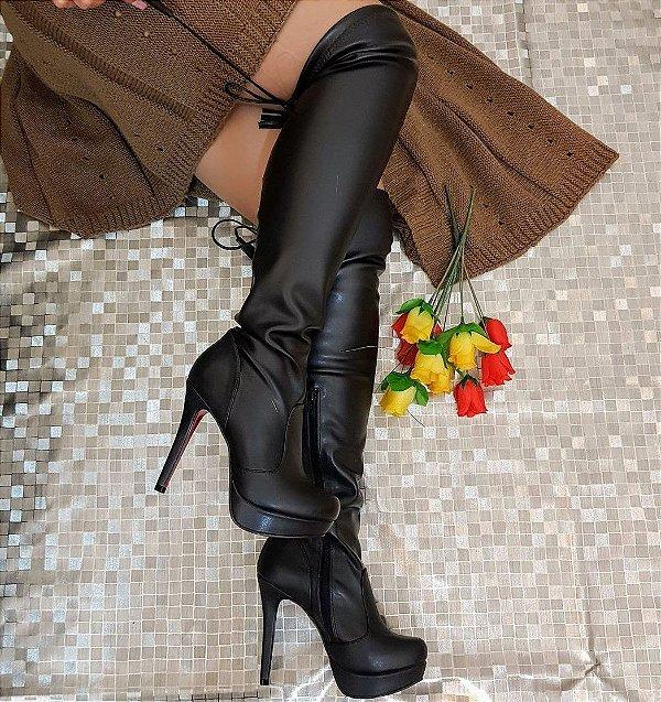 Bota Feminina Cano Longo Over Strech Salto Alto Dom Amazona Cód 24