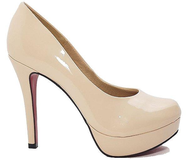 Sapato Feminino Salto Alto Dom Amazona Nude Verniz Cód 27