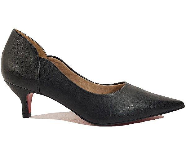 Sapato Scarpin Salto Baixo Dom Amazona Preto Cód 170