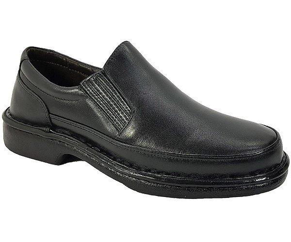 Sapato Masculino Sem Cadarço Anti Stress Couro Preto CD483