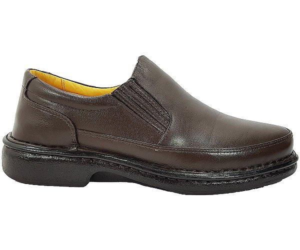Sapato Masculino Sem Cadarço Anti Stress Couro Café CD483