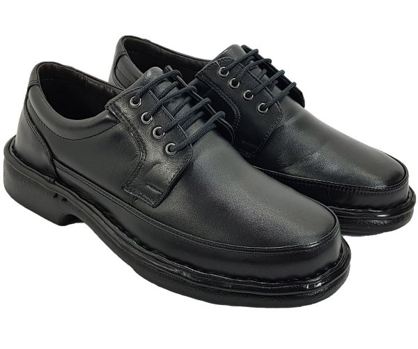 Sapato Masculino Sem Cadarço Anti Stress Couro Preto CD484