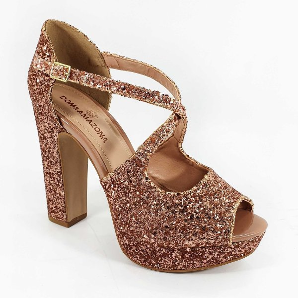 Sandália Salto Bloco Dom Amazona Glitter Cobre Números Grandes 0940692