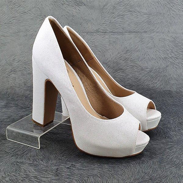 Peeptoe Noiva Salto Bloco Glitter Fino Branco 0940064