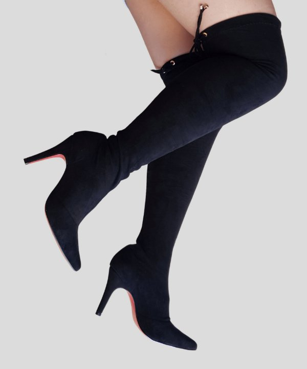 Bota Over The Knee Numeração Especial Camurça Strech Preto 0870841