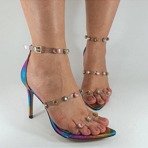 Sandália Salto Alto Numeração Especial Pedras Confeti 1550906