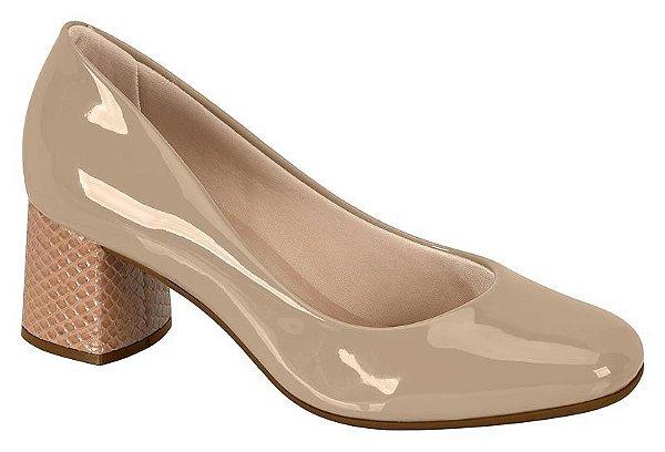 Sapato Feminino Salto Grosso Verniz Beira Rio Bege 4270.100