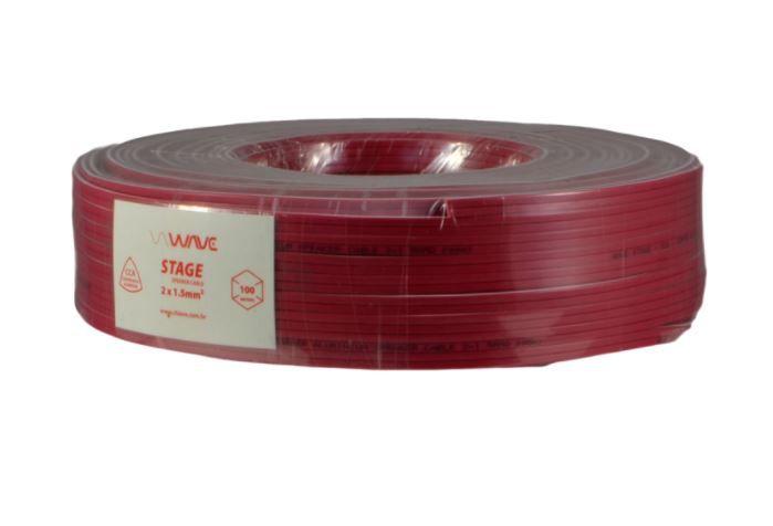 Wave Sound STAGE - Cabo para caixas acústicas 2x1,50mm 14 AWG CCA (Cabo com cobre e alumínio) - 100 metros Vermelho