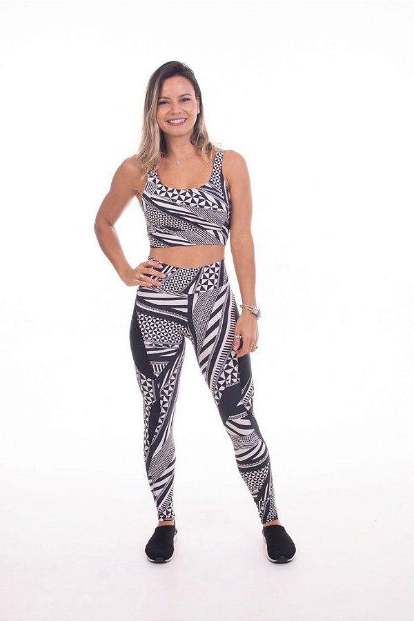 Top Run Alça Reta Compress Tribal - Moda Fitness e Moda
