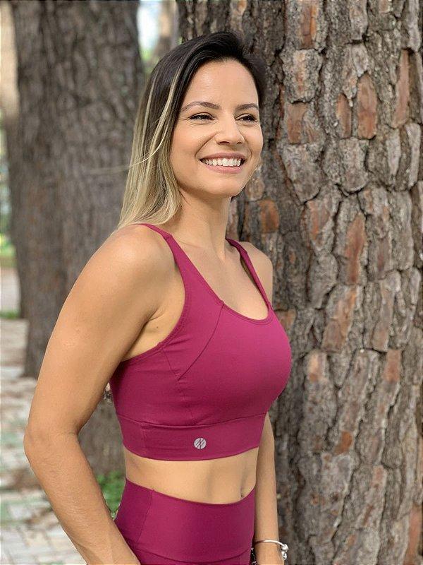 Top Run Alça Reta Compress Cereja - Moda Fitness e Moda