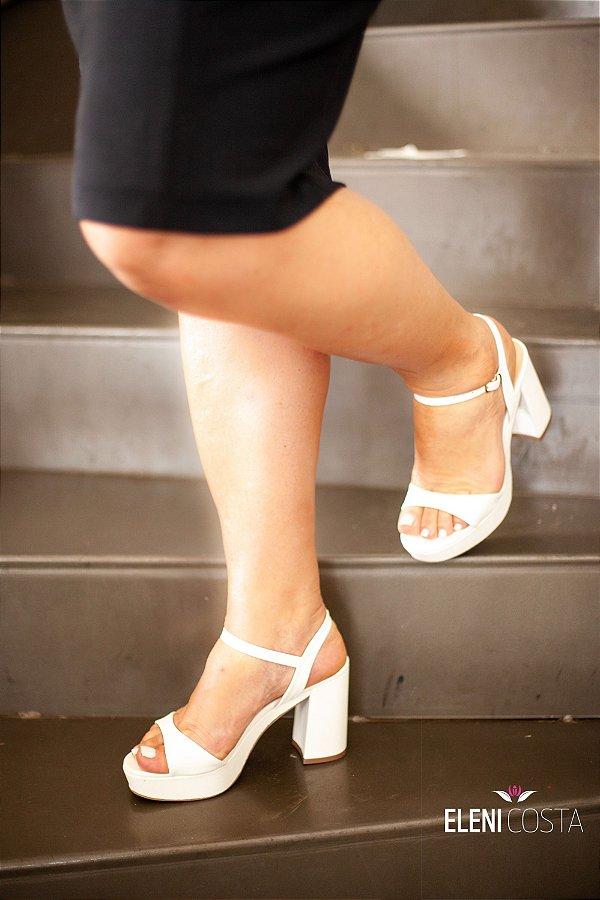 Sandália Salto Bloco - Branca (salto médio)
