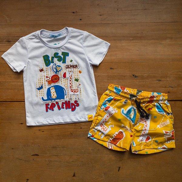 Conjunto Camiseta e Bermuda Animais Oliver Tamanho 1