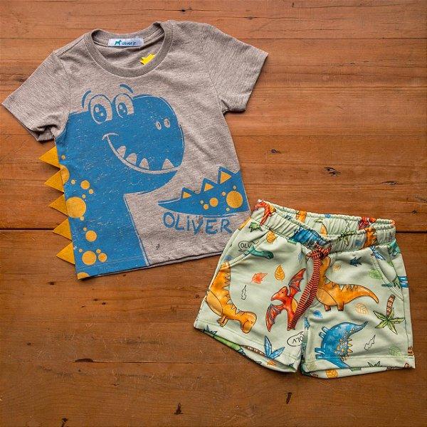 Conjunto Camiseta e Bermuda Dinossauros Oliver Tamanho 1