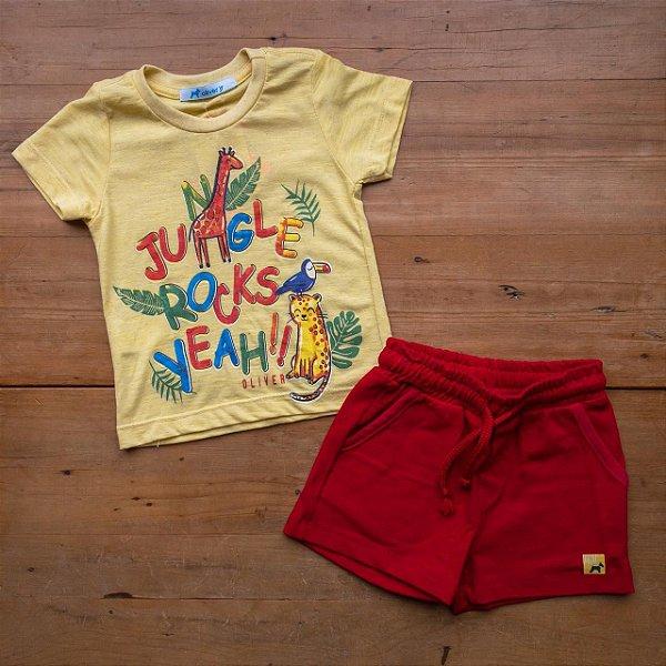 Conjunto Camiseta e Bermuda Selva Oliver Tamanho 1