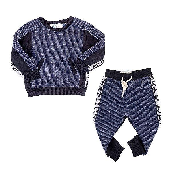 Conjunto Infantil Masculino Rizz Dame Dos Preto e Azul Tamanho 2