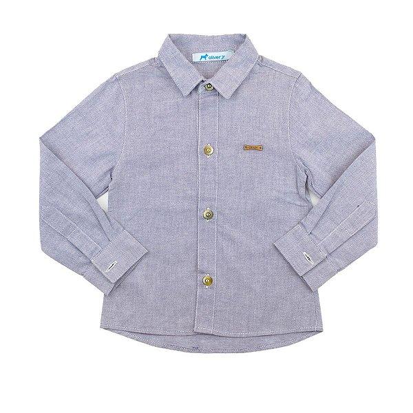Camisa Básica Mini Colors Oliver Cinza Mescla Tamanho 1