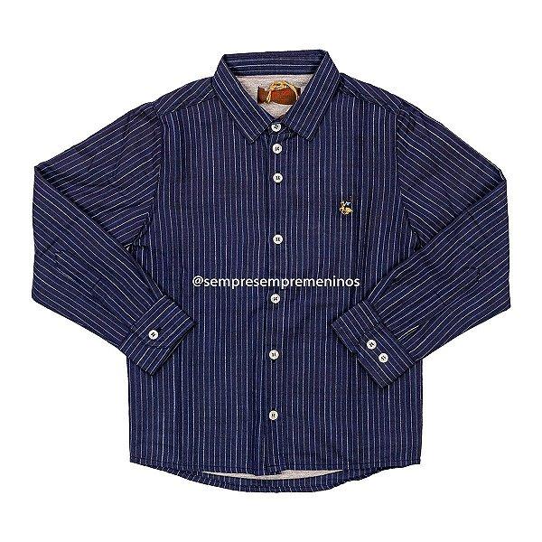 Camisa Listrada Azul Forrada Dame Dos Tamanho 8