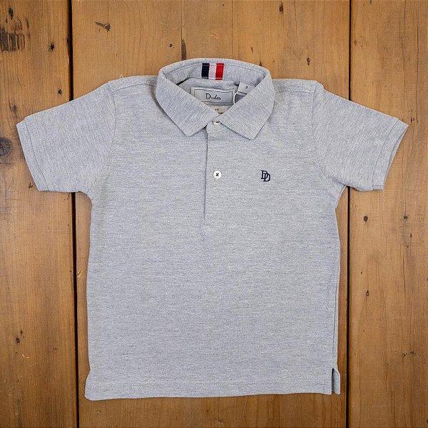 Camisa Polo Cinza Manga Curta Dudes Tamanho 8