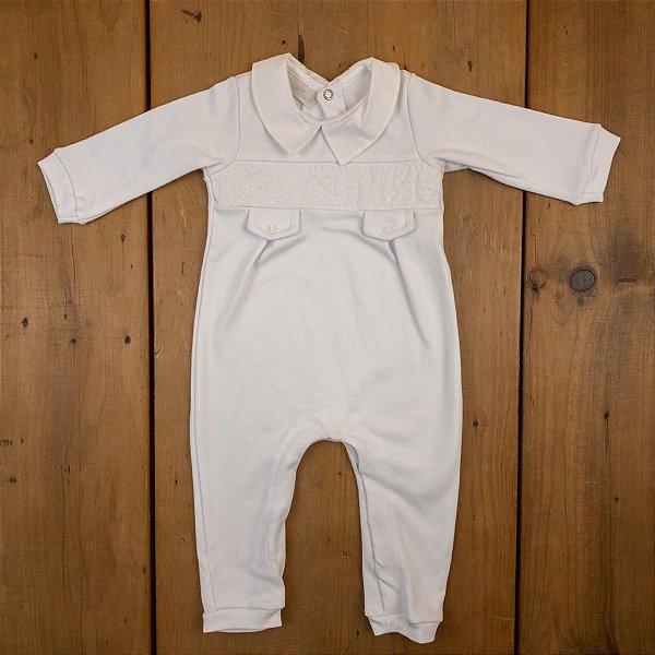 Macacão Branco Batizado Barbara Kids Tamanho P