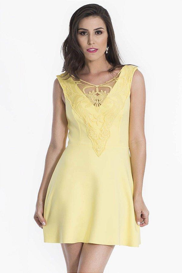 Vestido My Place Renda Amarelo