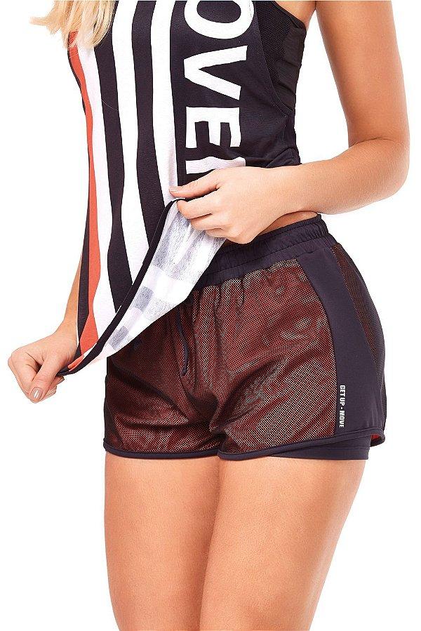 Shorts Alto Giro Sobreposto Ambra