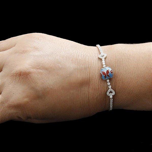 Pulseira de Prata com Zircônia e bola esmaltada azul e vermelha - DESIGN MODERNO !