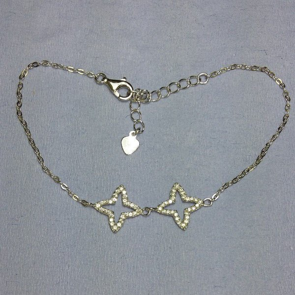 Pulseira de Prata duas estrelas com zircônia - INTENSO !!!