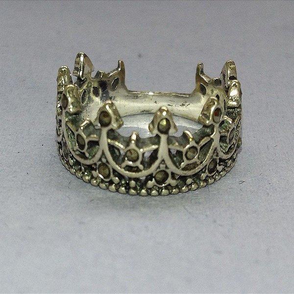 Anel de Prata Coroa Com Marcassita - PARA UMA RAINHA !!