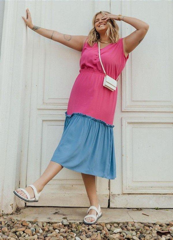 Vestido Viscose Midi Bicolor- 20326