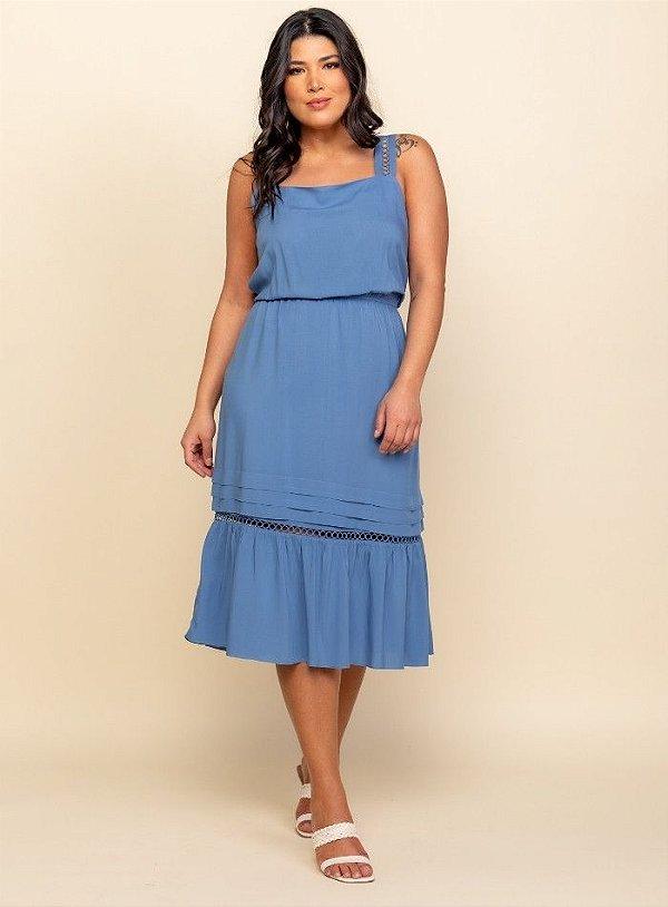 Vestido Midi Detalhe Renda - 20325