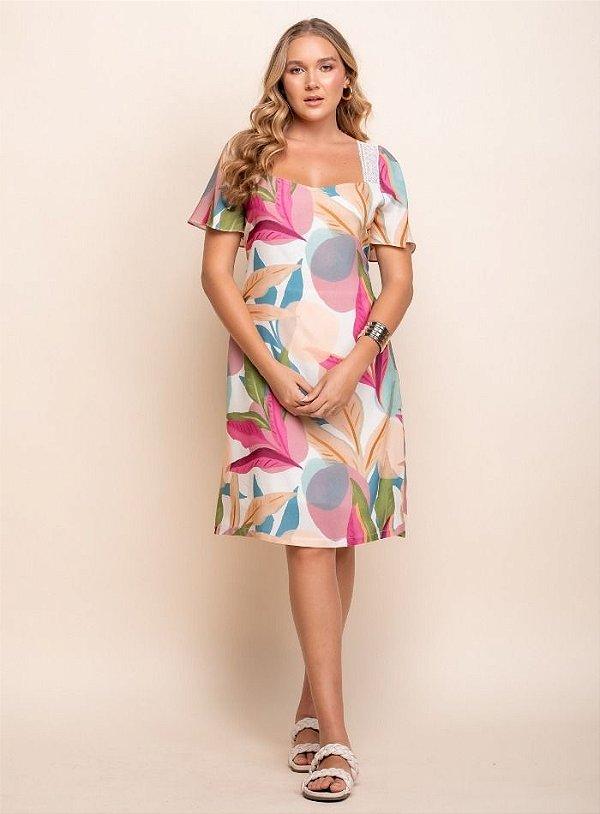 Vestido Floral Detalhe Renda - 20336