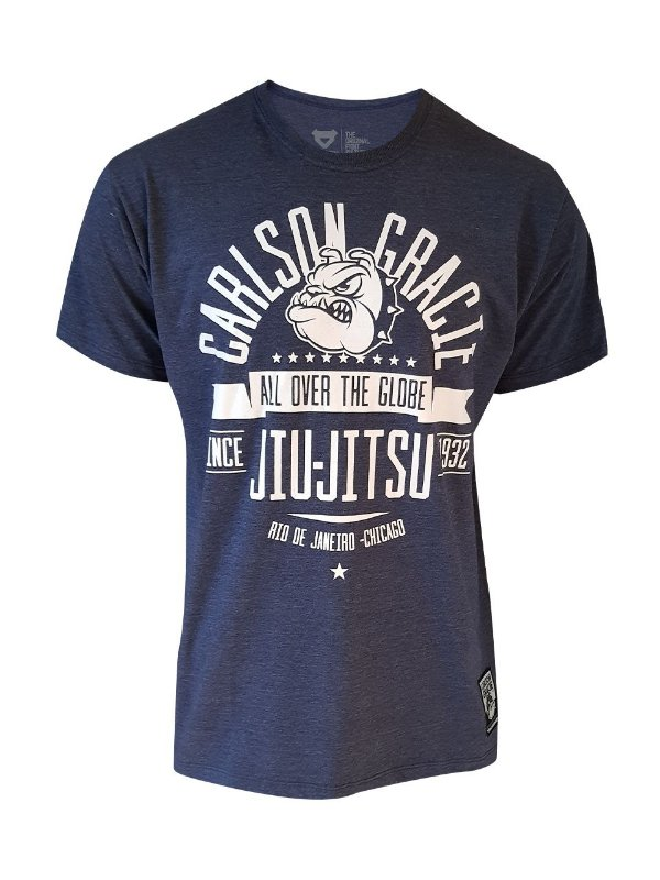 Camiseta Carlson Gracie The Globe Azul Mescla