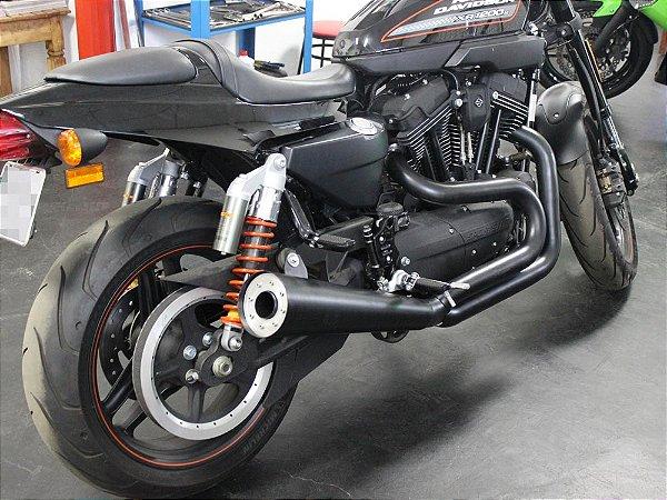 """Escapamento sportster 883R 2013 K21 4"""" cannon preto customer"""