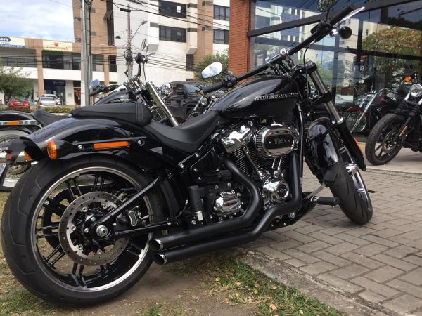"Escapamento softail deluxe 2018 K10 2"" 1/4 preto customer"