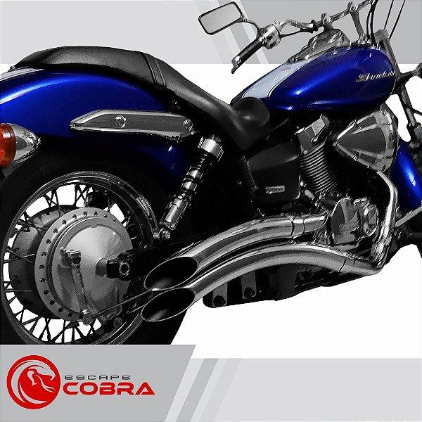 Escapamento custom shadow 750 JJ 2009 até 2014 cromado cobra