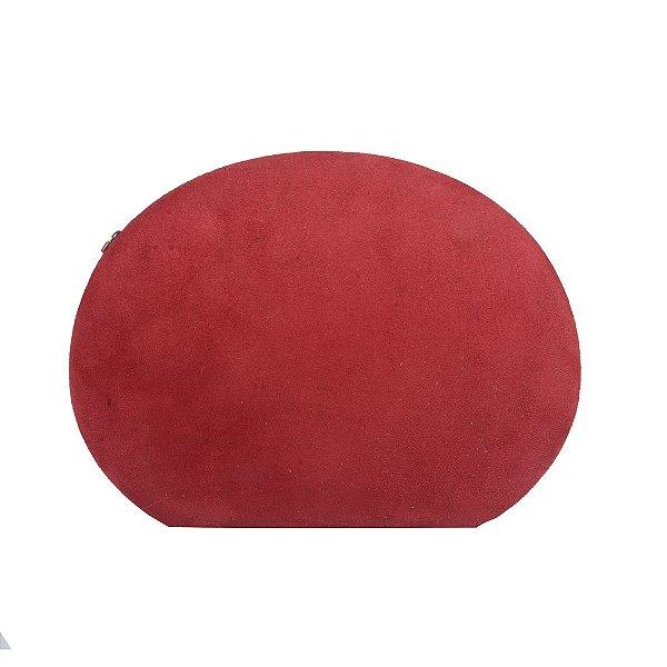 Clutch Oval com forração em Camurça Vermelha
