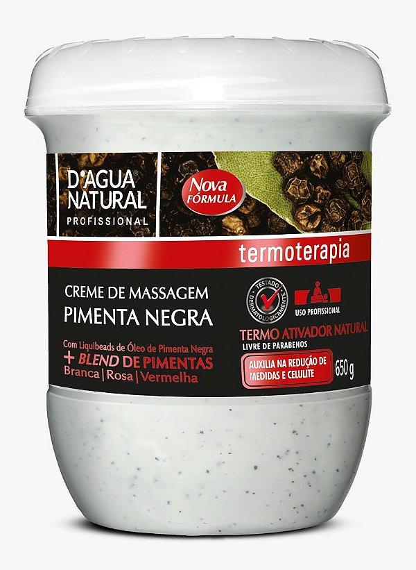 Creme Massagem Pimenta Negra 650g D'agua Natural