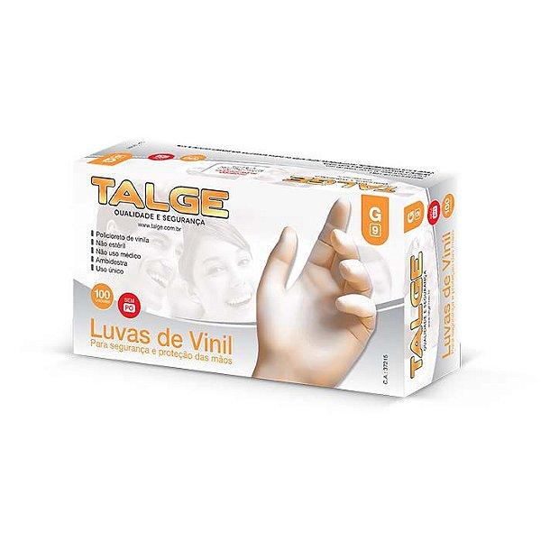 Luva Vinil Talge Sem Amido c/ 100 Unid.