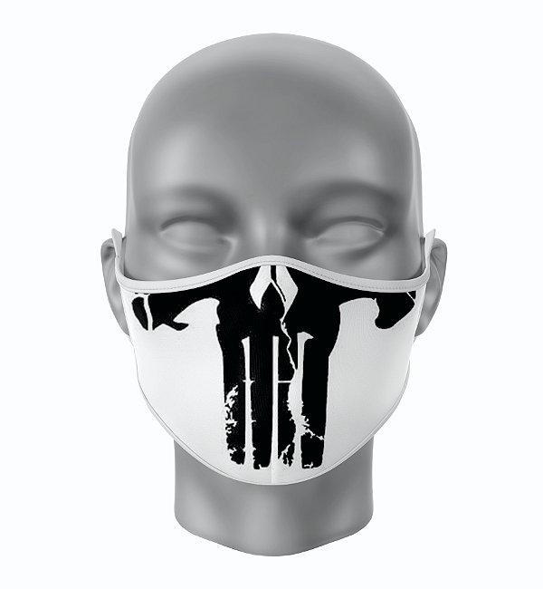Máscara de Tecido de Dupla Camada  Caveira Justiceiro Branco