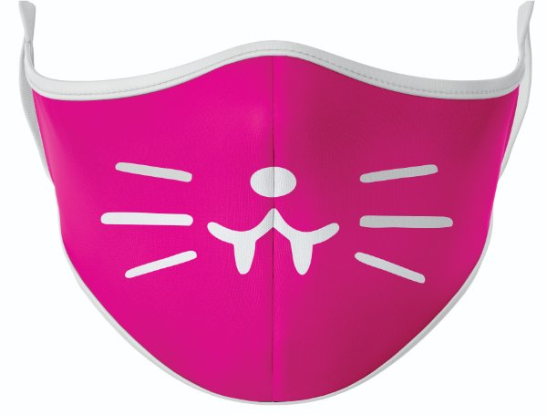Máscara de Tecido de Dupla Camada Estampa Gatinha Rosa