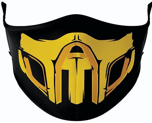 Máscara de Tecido de Dupla Camada  Mortal Kombat Scorpion