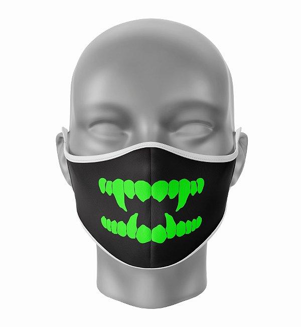 Máscara de Tecido de Dupla Camada Estampa Vampiro Verde