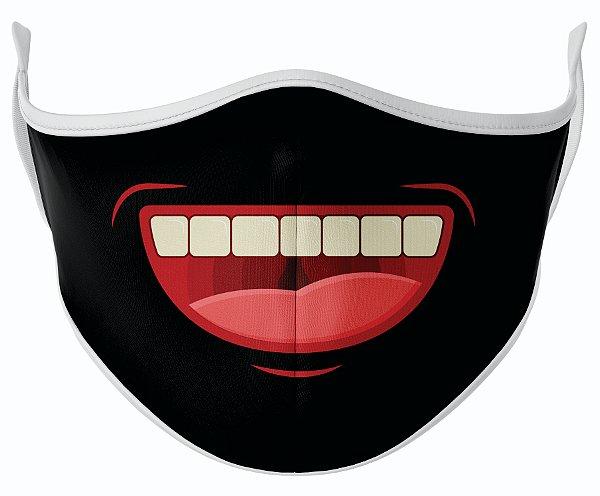 Máscara de Tecido de Dupla Camada Estampa Sorriso Aberto