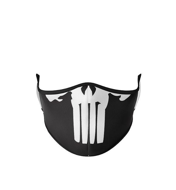 Máscara de Tecido de Dupla Camada  Caveira Justiceiro Preto