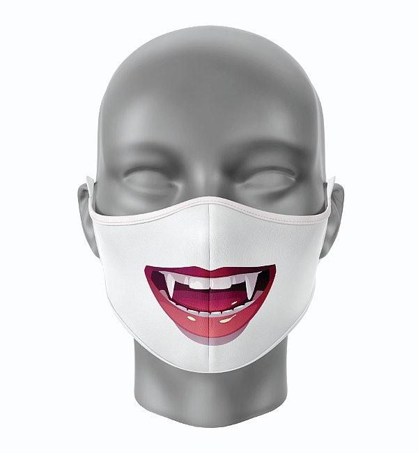 Máscara de Tecido de Dupla Camada  Vampiro de Boca Aberta