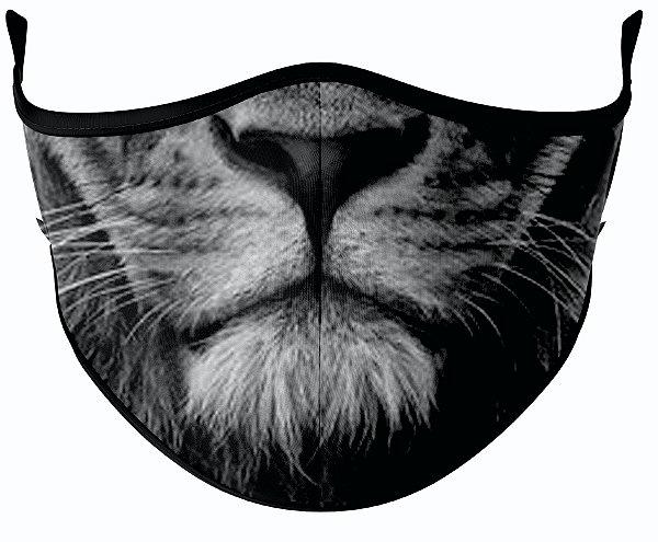 Máscara de Tecido de Dupla Camada  Leão Preto e Branco